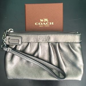 COACH Leather Wristlet With Removable Strap